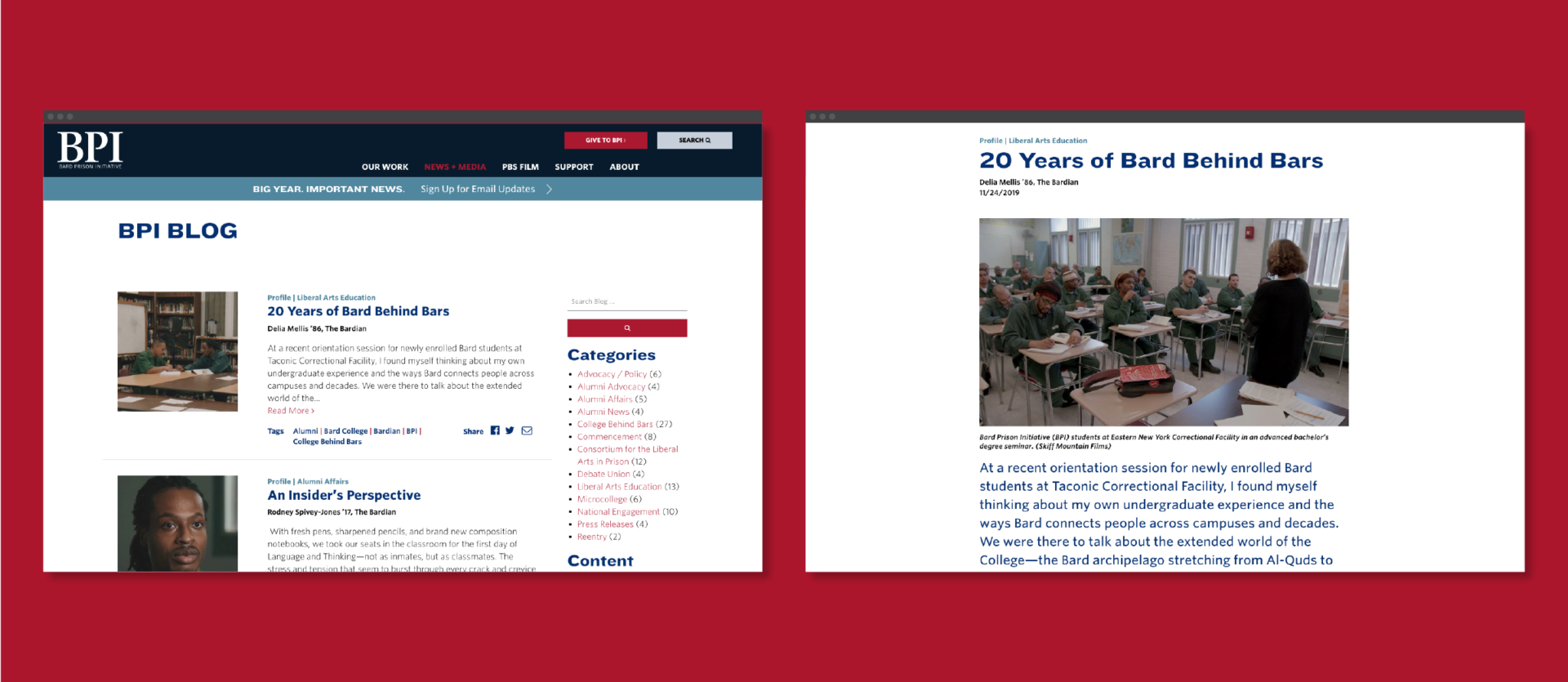 Screens from the BPI website displaying the blog feed page, and a single article titled