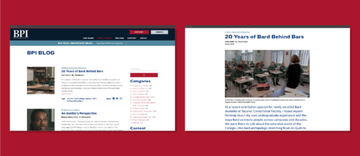 "Screens from the BPI website displaying the blog feed page, and a single article titled ""20 Years of Bard Behind Bars."""