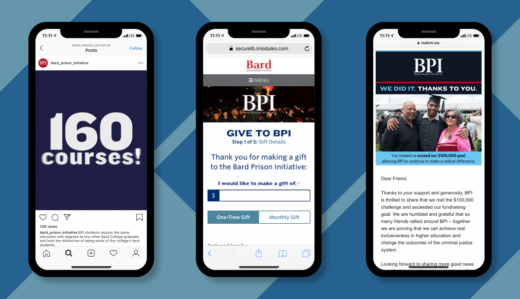 Three iPhones displaying (from left to right), an Instagram GIF post about the 160 courses offered by BPI, the BPI donation web page, and an eBlast thanking BPI donors for their support.