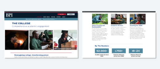 """Screens from the BPI website featuring information about """"The College"""", with photos of alumni and students, and information about courses offered."""