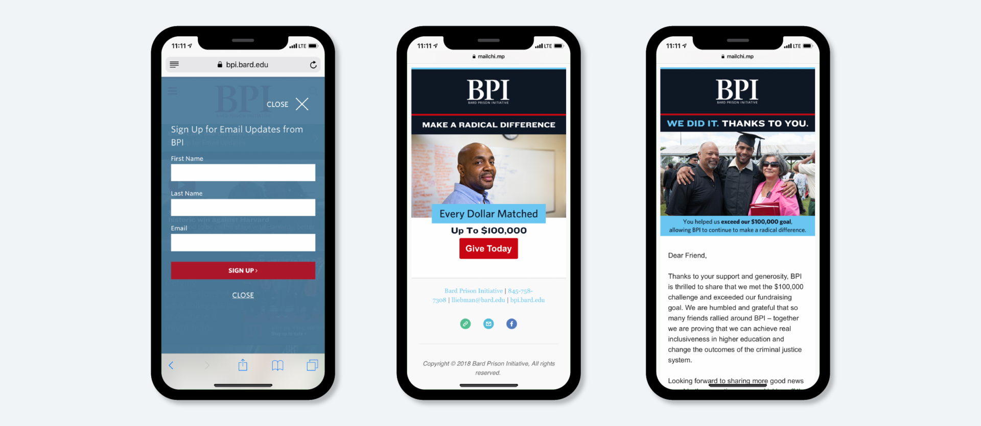 Three iPhones displaying the BPI email list signup screen, an eBlast promoting a giving campaign, and a second eBlast thanking donors for their support.