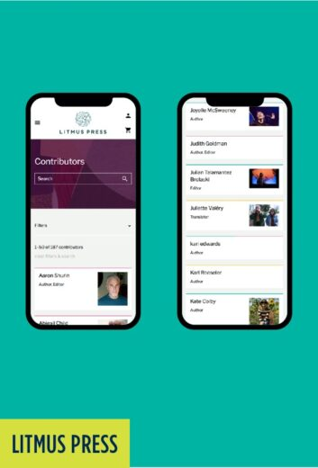Litmus Press: Mobile website pages..