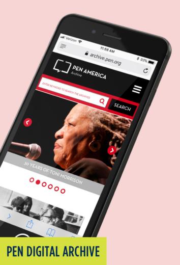 PEN Digital Archive: Mobile website with Toni Morrison image.