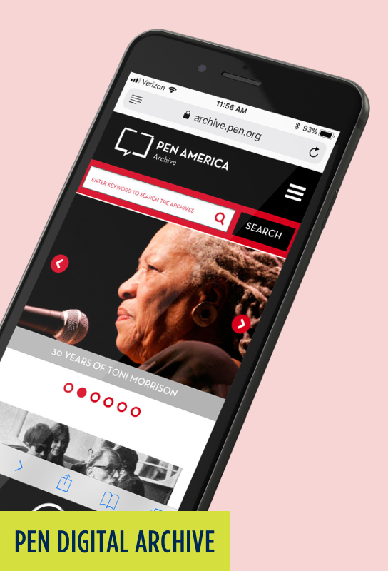 PEN Digital Archive: Mobile website with Toni Morrison image.
