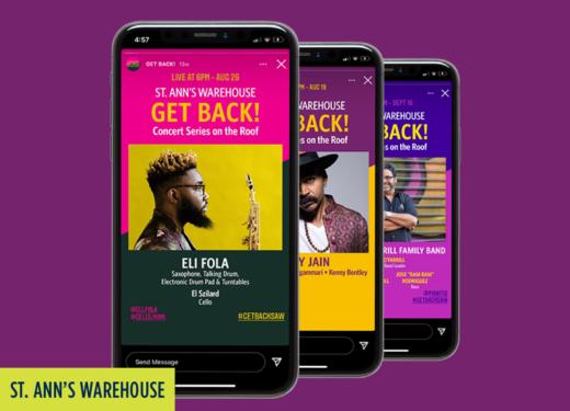 St. Ann's Warehouse: Get Back concerts Instagram posts.